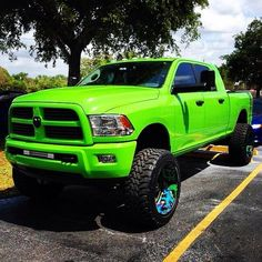 bright lime green dodge ram lifted truck oversize tires if this was only a chevy :( still love it tho Ram Trucks, Pickup Trucks, Jacked Up Trucks, Dodge Trucks, Diesel Trucks, Cool Trucks, Mudding Trucks, Dually Trucks, Dodge Cummins