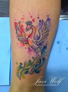Watercolor phoenix tattoo.Tattooed by javiwolfinkwww.javiwolf.com