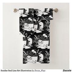 Sundae Seal Line Art Illustration Bath Towel Set Bath Towel Sets, Artwork Design, Cute Illustration, Hand Towels, Line Art, Print Design, Seal, Vibrant, Prints