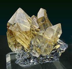 Quartz with Rutile and Hematite. Rear