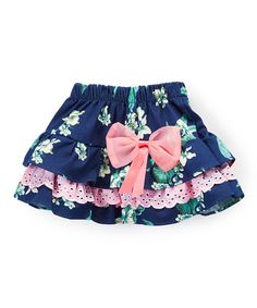 Look at this Navy Blue Lace-Trim Floral Ruffle Skirt - Infant, Toddler & Girls on #zulily today!
