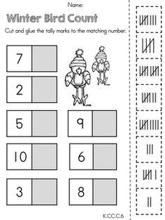 Winter Bird Count (Tally Marks) >> Part of the Kindergarten Common Core Aligned Winter Math Worksheet Packet