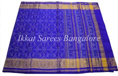 Handwoven Ikkat patola silk saree in royal blue. Code: ISB7002 Status : Available Write to ikkatsareesbangalore@gmail.com or inbox the message. Contact : +918792177606