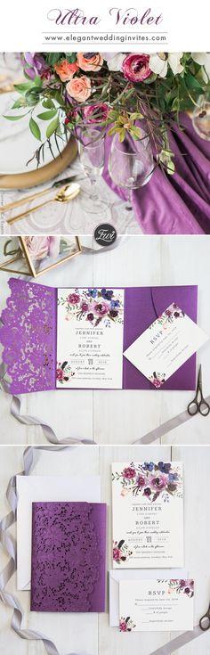Ultra Violet Inspired Purple Laser Cut Floral Wedding Invitations EWWS202.#purple g#invitation#purple#elegantweddinginvites