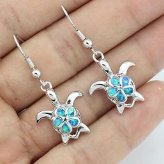 Classic Blue Fire Opal Turtle Loop Earrings