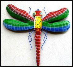 Dragonfly Metal Wall Art dragonfly wall decor tropical metal art - bright pastel colors