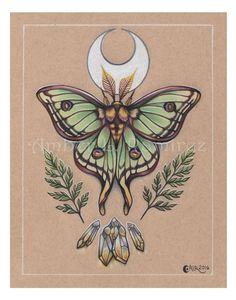 11 x 14 inch Spanish Lunar Moth with Crescent Moon and Citrine Crystals Print