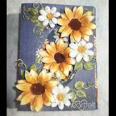 Sunflowers and Daisies Oval Card by Pam Korte - Cards and Paper Crafts at Splitcoaststampers