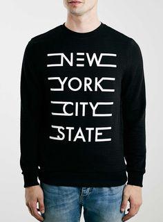 Black New York Texture Sweatshirt