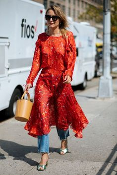 FADALES--red dress over jeans
