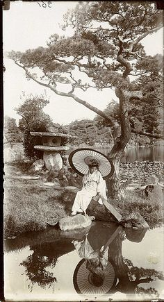 "'In a Japanese Garden' | Flickr - Photo Sharing! | ""In a Japanese Garden' study of a girl in a Japanese garden with her reflection in lake"". Photograph taken by Herbert Ponting (1870-1935)."