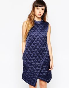Image 1 ofHouse Of Holland Quilted Silk Wrap Dress