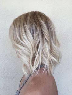 Frosty Blonde shoulder length hair style More