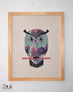 Geometric Owl Print Art on Burlap with Pine by ChoBeArtandDesign, $120.00