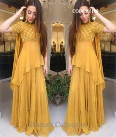 5109 Mustard Gharara/Sharara With High Low Kurti On sale till march Party Wear Indian Dresses, Indian Fashion Dresses, Designer Party Wear Dresses, Pakistani Dresses Casual, Indian Gowns Dresses, Dress Indian Style, Pakistani Dress Design, Indian Designer Outfits, Indian Wedding Outfits