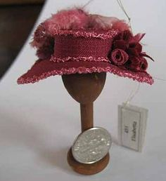 Hat - dollhouse miniature 1:12 scale. $16.00, via Etsy.