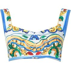Dolce and Gabbana Tile Print Bra Top ($595) ❤ liked on Polyvore featuring tops, kirna zabete, tanks, white cotton tank top, white bra top, colorful tops, all over print tank top and white tank top