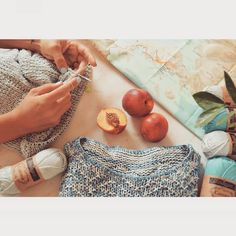 Summer afternoons with good company and knitting chat , are my best.Fresh nectarines from farmers' market and a looooot of planning.So much…