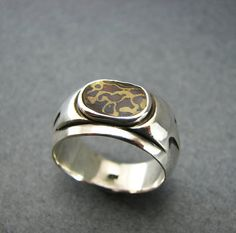 POSEIDON Sterling and Mokume Gane Ring Sterling by UngarMetalArt, $190.00