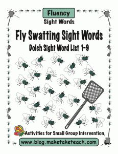 Fly swatting sight words.  220 sight words printed on flies.  Students LOVE swatting their sight words.  Fun literacy center activity.