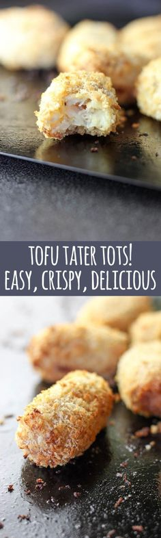 Crispy tofu and potato is a kid pleasing combo that even the pickiest of eaters are sure to enjoy. With just three ingredients (+ optional crumb coat) these are super easy to make. Perfect for vegetarian and vegan kids (and adults too!). #vegan #vegetarian #dairyfree #tofu #potato #tatertots #protein #plantprotein #plantbased #healthy #baby #toddler #children #kids #recipes