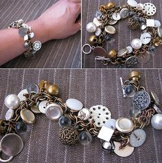 DIY Button Jewelry: So many buttons! I found some fun diy button jewelry ideas that make creative use of mismatched buttons, cord and jewelry findings. Diy Buttons, Vintage Buttons, Beaded Jewelry, Jewelry Bracelets, Handmade Jewelry, Jewelry Findings, Diamond Bracelets, Charm Necklaces, Chain Bracelets