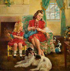 frederick sands brunner images | FREDERICK SANDS BRUNNER (American, 1886-1954). The Knitting Lesson, c ...