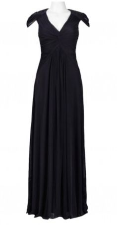 ADRIANNA PAPELL Jersey Mesh Gown with Sequined Shoulder Detail