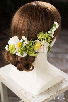 (和装・髪飾り)ホワイト×イエローグリーン ヘッドドレス(3P) head dress