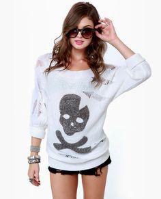 cute beaded skull and crossbones sweater w/a cuff sleeve.