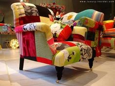 - What could be funkier than a patchwork pillow? Patchwork sofas, chaise, chairs and ottomans!Furniture designer Lisa Whatmough, from London, En.