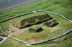 L'Anse aux Meadows is an archaeological site on the northernmost tip of Newfoundland. Discovered in it is the only known site of a Norse or Viking village in Canada, and in North America outside of Greenland. The UNESCO World Heritage Site highlights North America, L'anse Aux Meadows, Viking Village, Terra Nova, Newfoundland And Labrador, Newfoundland Canada, Viking Life, Viking House, Alaska