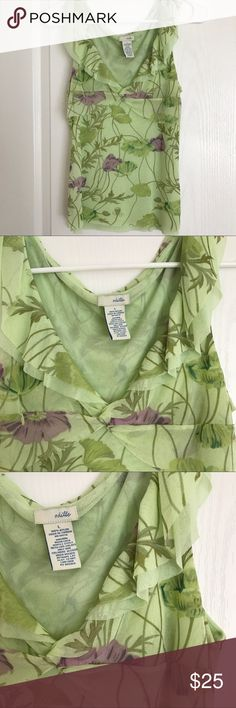 Anthropologie Odille Tank Anthropologie Odille Tank  / green with flowers / tag is a size large but it is definitely not sized as such, so I listed as Medium. / Adoravle/ Great used condition! Anthropologie Tops Tank Tops