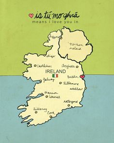 I Love You in Ireland // Modern Baby Nursery Decor, Typography Poster, Irish Map, Giclee, Illustration, European Travel Theme, Digital