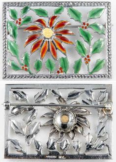 Another Walter Lampl enameled sterling & marcasite poinsettia perfume brooch is now at the Providence Jewelry Museum.