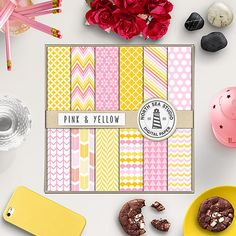 Pink And Yellow Digital Paper -  http://etsy.me/2aPIWKz 12 lemon and pink papers with chevron, polkadots, stripes, scallops, triangle & arrows pattern.