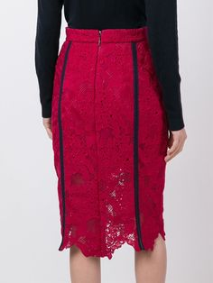 MSGM embroidered lace pencil skirt