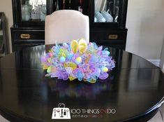 Easy Easter Wreath - using dollar store items | 100 Things 2 Do Mesh Ribbon Wreaths, Deco Mesh Wreaths, Yarn Wreaths, Floral Wreaths, Burlap Wreaths, Burlap Flowers, Mesh Wreath Tutorial, Diy Wreath, Tulle Wreath