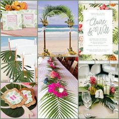 Palm Tree with Tropical Flower Beach Wedding Ideas from HotRef.com #tropicalwedding
