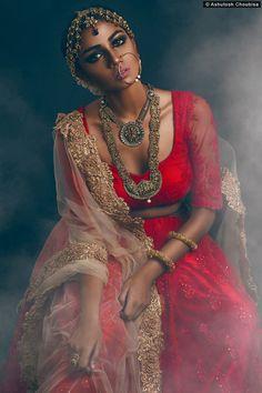 Beautiful Red Lace #Lehenga & #Blouse With Beige Dupatta.