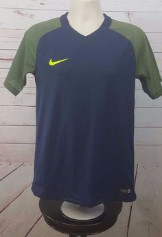 Nike Dri Fit Mens Soccer Jersey Shirt Blue Dark Lime Size Medium Short Sleeve #Nike #ShirtsTops
