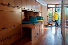 Love this for kids - murphy beds in a tiny west coast cabin.