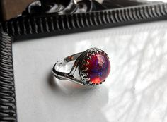 Mexican Fire Opal Ring - Dragons Breath Ring - Czech Glass Opal - Victorian Ring - Antique Silver - Men's Ring - Men's Gothic Ring