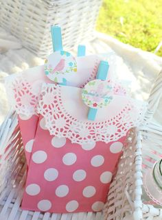Love these favor bags from this Shabby Chic Mama's Party via Kara's Party Ideas! | Cake, decor, cupcakes, games, and MORE! KarasPartyIdeas.com #shabbychicpicnic #shabbychicparty #picnic #mamaparty #partydecor #partyideas #partyplanning #mothersday