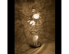 Jasmine Silver Wire Table Lamp with White Flowers