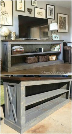 12 Easy DIY Farmhouse Decor Ideas You Will Love to Try! : Farmhouse Console Table DIY farmhouse decor ideas are very trendy these days if you watch some home renovation TV shows you probably know that it's in high demand now. Check this farmhouse decor o Rustic Country Furniture, Country Farmhouse Decor, Farmhouse Furniture, Rustic Decor, Bedroom Country, Country Kitchen, Farmhouse Style, Modern Farmhouse, Farmhouse Ideas