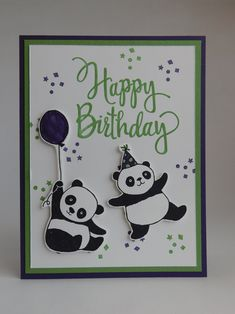 Birthday Card (2018). Supplies used: Elegant Eggplant and Wild Wasabi card. Basic Black Archival Stampin' Ink, Wild Wasabi and Elegant Eggplant Inks. Elegant Eggplant and Wild Wasabi Stampin' Markers. Party Pandas and Stylized Birthday stamp sets.