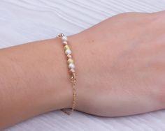 "Gold bead bracelet, gold bracelet, bridesmaid bracelet, beaded bracelet, gold bar bracelet, mixed metal bracelet, gold filled, ""Gorgo"""