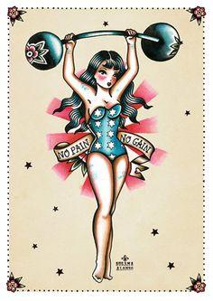 No Pain No Gain by Susana Alonso Pin-Up Boxer Girl Canvas Art...
