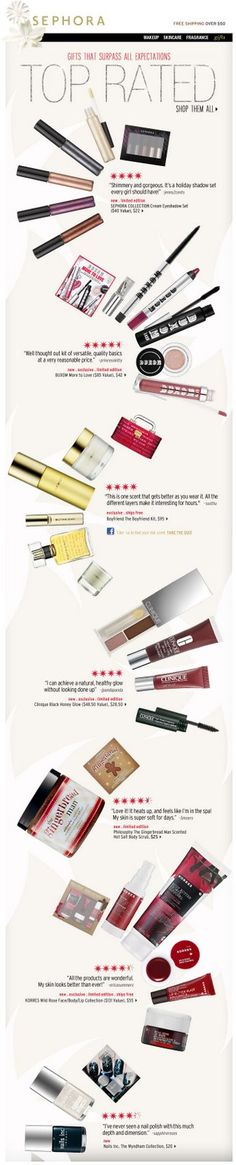 Sephora || alternating images & text draws eye down and encourages the scroll